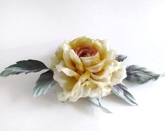 Brooch rose from silk-yellow rose silk accessory