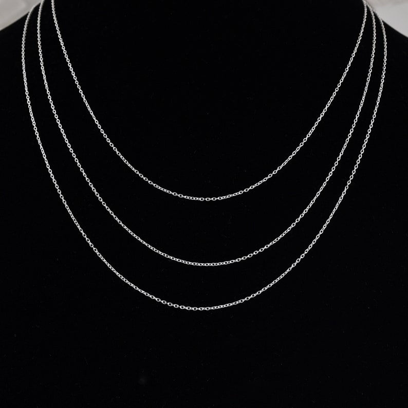 gift For Her 925 Sterling Silver Chain Silver Cable Chain Necklace For Women Various Lengths Solid Sterling Silver,Pendant Silver Chain