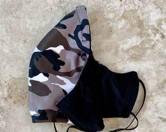 Adjustable Fitted Activewear Mask, Cheeky Mask, Clothe Your Mouth, fitness mask, nose wire, filter mask: Camo Black