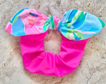 Clothe Your Mouth Scrunchies, Scrunchies for Spring , Bow Scrunchies, floral hair ties, Bowhama Mama