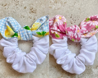 Clothe Your Mouth Scrunchies, Hair Accessories,  Bow Scrunchies, Daisy Love, Spring scrunchie, Pink Daisy Scrunchie, Lemon Gingham Scrunchie