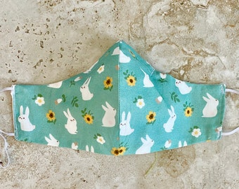 Adjustable Fitted Cotton Mask, Cheeky Mask, Clothe Your Mouth, flower mask, reversible mask, nose wire, filter pocket mask: Sunny Bunny