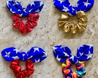 Clothe Your Mouth Scrunchies, Star Scrunchies,  Bow Scrunchies, Super Hero Love, Wonder Woman hair ties, Super Hero Scrunchies