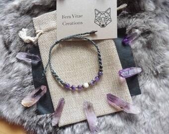 Amethyst and moonstone bead macrame bracelet