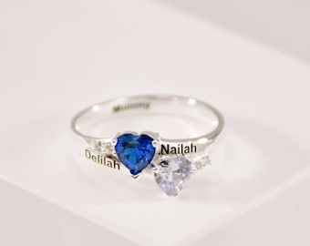 Engraved Double Heart Birthstone Ring • Two Names Ring • Customized Rings • Birthstone Ring • Gift For Mom • Best Friend Ring