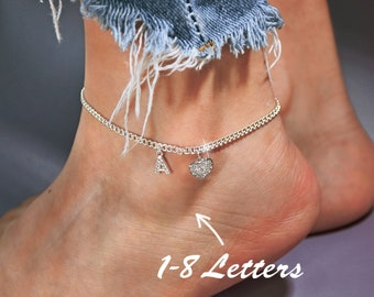 Personalized Sparkle Initial Anklet • Custom Name Anklet • Personalized Ankle Bracelet • Custom Adjustable Ankle Chain • Gift for Her