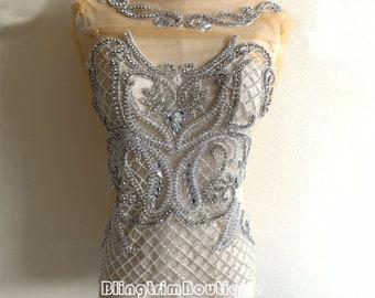 Luxury Handmade Crystal Beaded Bridal Bodice Rhinestone Applique Motif Diamante Lace Patch Wedding Dress Panels Ball Bridal Cape one set