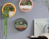 Round Iron Wall Vase- Home Living Room- Hanging Basket Decorative Flower Pot Wall Decor Succulent Plant -Planters Art Glass Vases