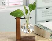 Terrarium Hydroponic Plant Vases- Vintage Flower Pot Transparent Vase Wooden Frame Glass Tabletop Plants Home Bonsai Decor - Wooden Frame