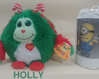 """Ty Beanie Ballz Monstaz:The 6""""  HOLLY RARE Green Holiday  w Sound Birthday -New with Swing Tag"""
