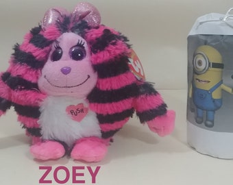 """TY Beanie Monstaz: The 5""""  ZOEY Pink Purple Plush Stuffed Animal - Speaking Striped-New with Swing Tag."""