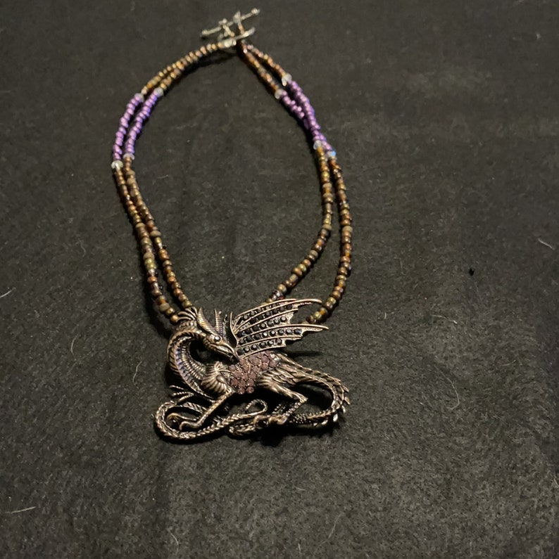 Bronze and purple dragon Necklace 18\u201d.