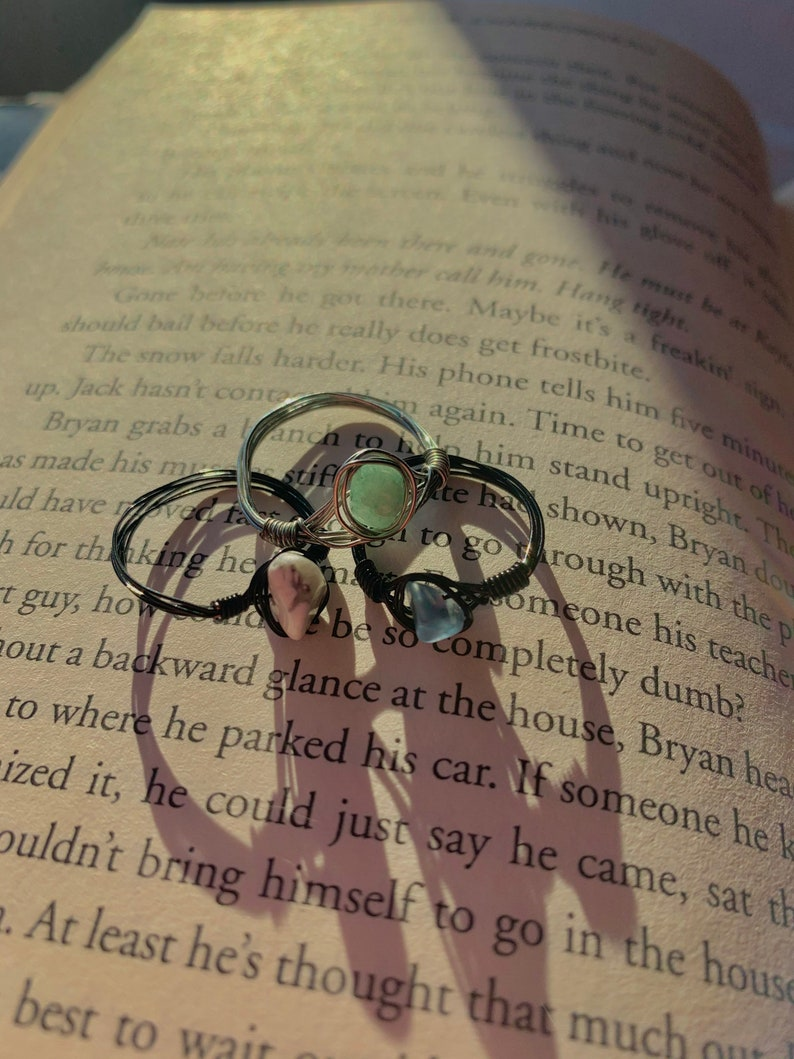 turquoise and black ring bundle