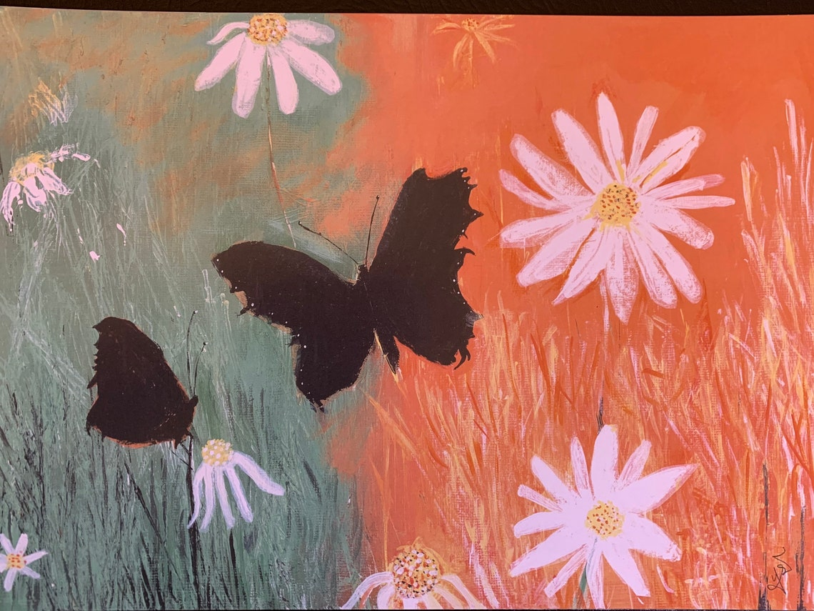 Daisies: Fine Art Giclee Print Boho Design Floral Wall Art