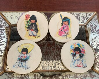 Set of 4 vintage DeGrazia drink coasters