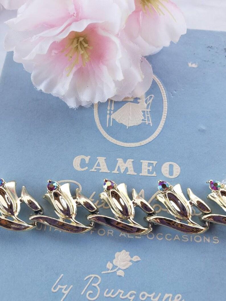 Vintage Gold Tone Tulip Purple Rhinestone Choker Necklace