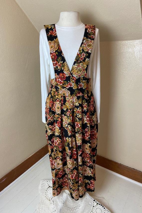 Vintage cottagecore Floral Apron Dress - image 1