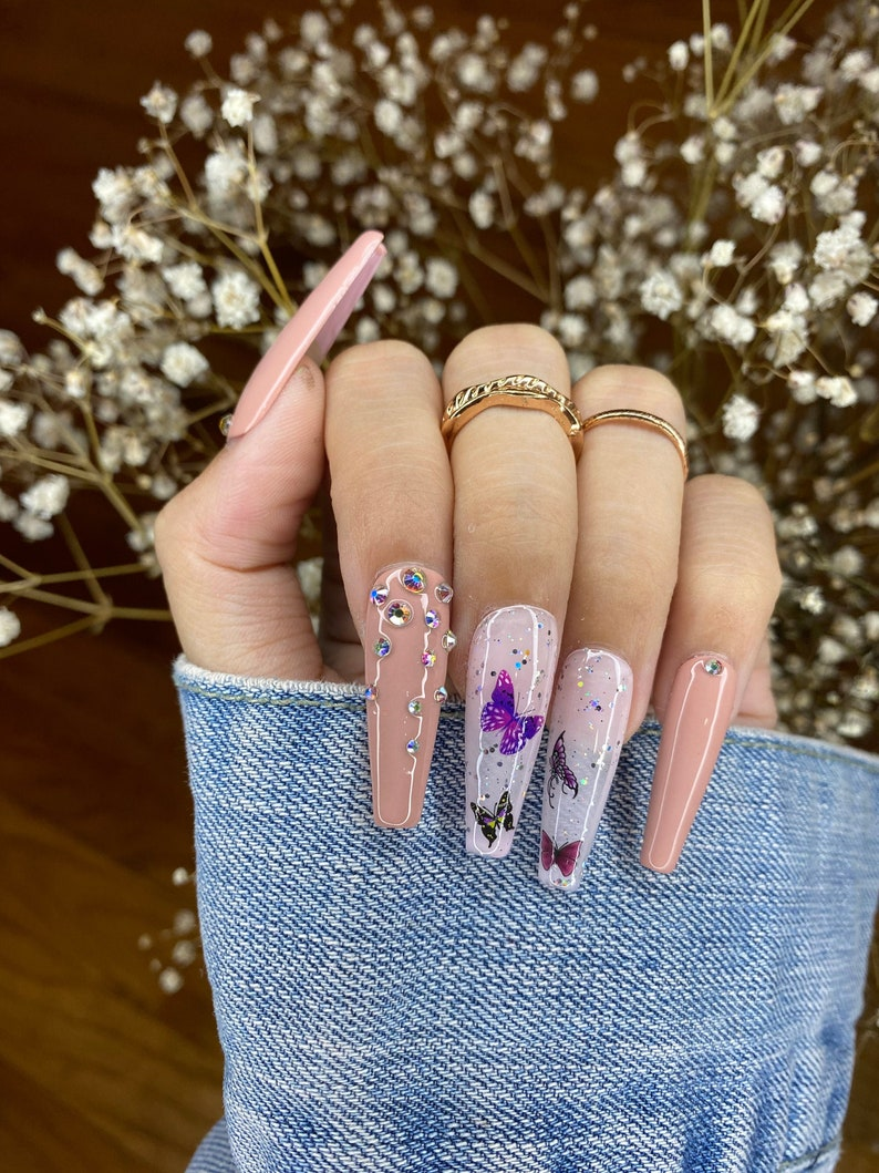 Nude Butterfly Nails Design/ Press On Nails/ Rhinestone Nails/