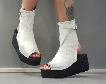 Ankle Sandals, White Leather Sandals, Steampunk Sandals, Gothic Sandals, Genuine Platform Sandals, Open Toe Sandals, Leather Wedges