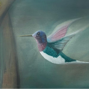 9x12in Impressionist hummingbird oil painting on paper