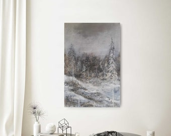 """SILVER Image 120x80cm """"Surrouned"""" by EWA MRÓZ for modern interior (landscape painting)"""