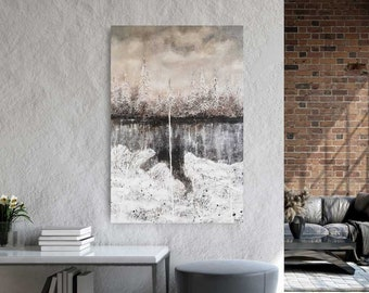 """SILVER Image 120x80cm """"Covered"""" by EWA FROST for modern interior (landscape painting)"""