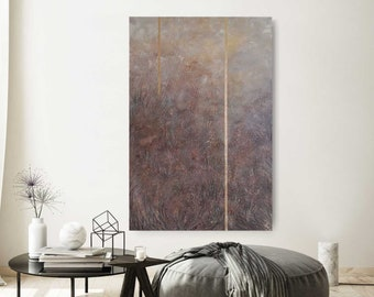 """GOLDEN Image 120x80cm """"Inside"""" by EWA FROST for modern interior (landscape painting)"""