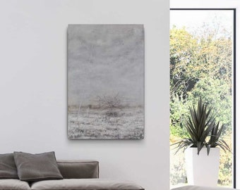"""SILVER Image 120x80 cm """"Lonelines"""" by EWA MRÓZ for modern interior (landscape painting)"""