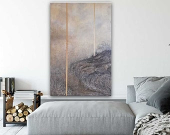 """GOLD painting 120x80 cm """"Crooked road"""" by Ewa MRÓZ for modern interior GOLD (landscape painting)"""