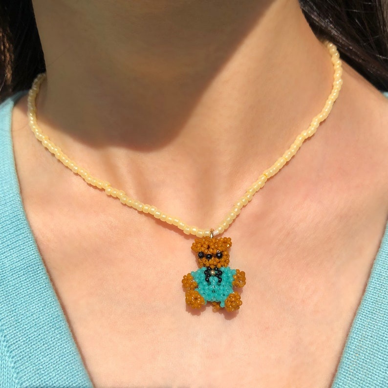 y2k | Teddy Bear Choker Necklace Beaded Choker with Beaded Turquoise Teddy Bear Charm kpop indie necklace soft aesthetic kidcore