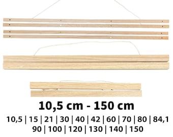 Poster rail magnetic handmade of oak - Suitable for DIN formats - Different lengths - Poster holder 10.5 cm to 150 cm - Poster frame