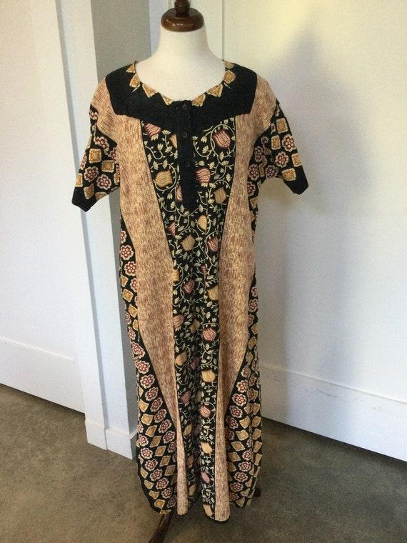 70s XL Cotton Dress Block Print