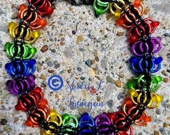 Lgbt+ chainmail woven bracelet, pride, rainbow