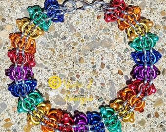 Rainbow, Lgbt+, Pride, Equality bracelet, chainmail