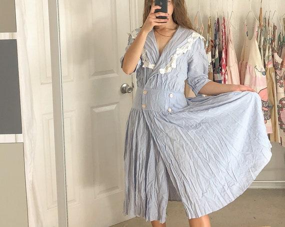 Vintage Blue Polka Dot Wrap Dress-Large