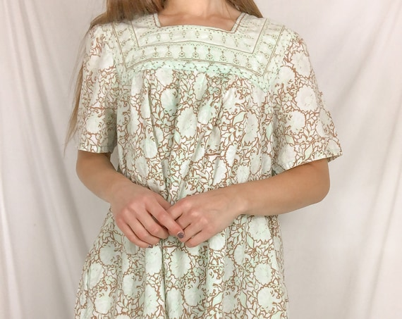 Vintage Key Lime and Brown Square Neck Dress-Large