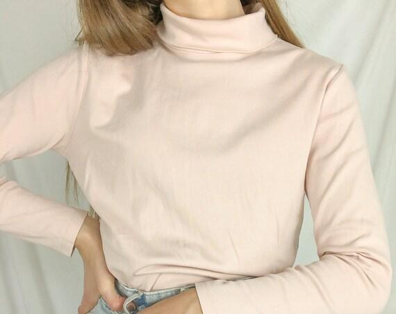 Vintage Pink High neck long sleeve turtleneck-Medium