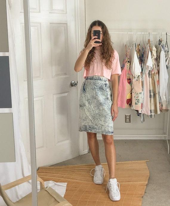 Vintage Acid Wash High Waist Skirt-Medium