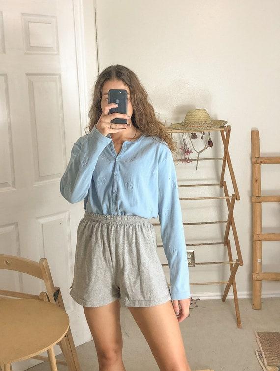 Vintage embroidered blue cardigan-XL