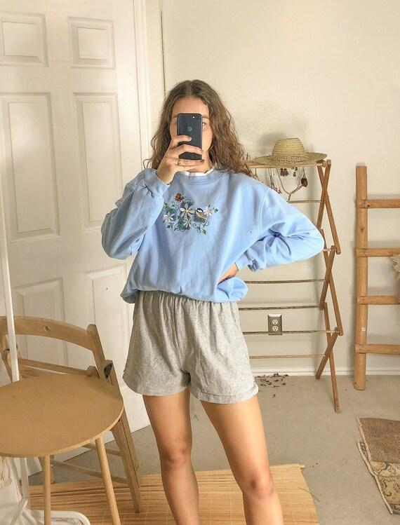 vintage Blue Embroidered Sweatshirt-Medium