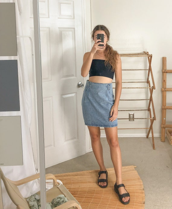 Vintage Denim Pleated High Waist Skirt-Medium