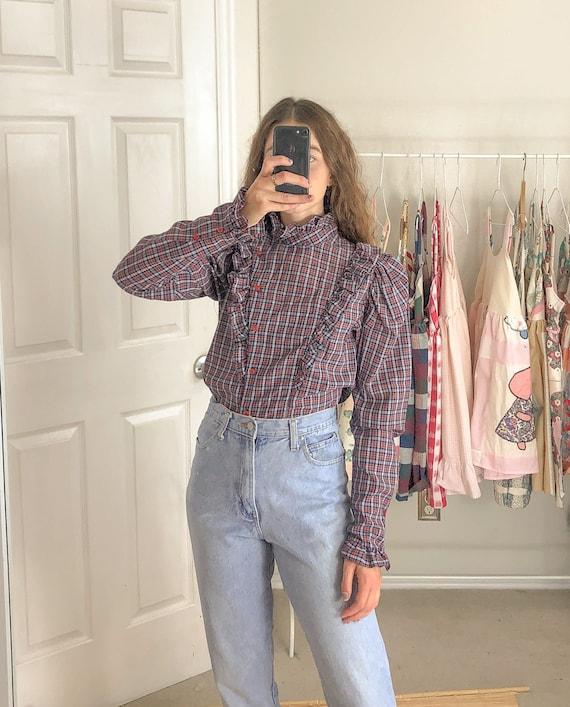 Vintage plaid ruffle blouse-Medium
