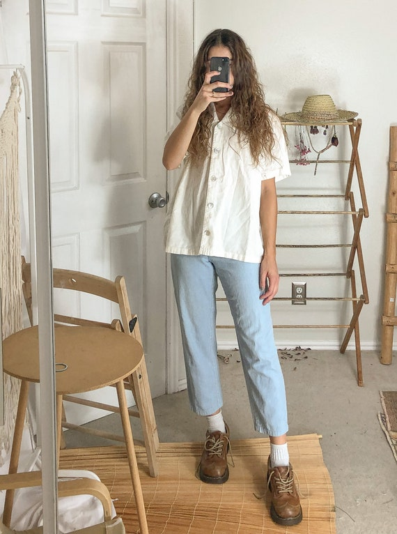 Vintage Linen button up collared blouse-Medium