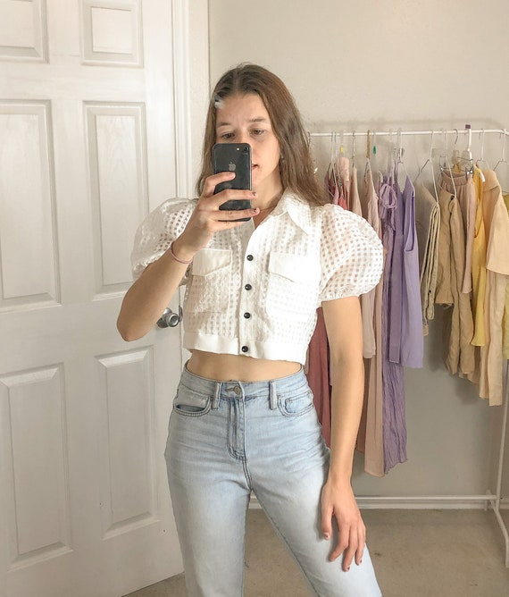 Sheer Checker Puff Sleeve Blouse-Medium