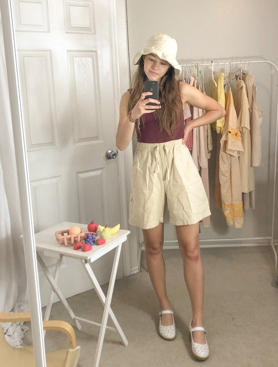 Tan Elastic Waist Shorts-Small