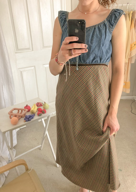Vintage high waist plaid skirt-Medium