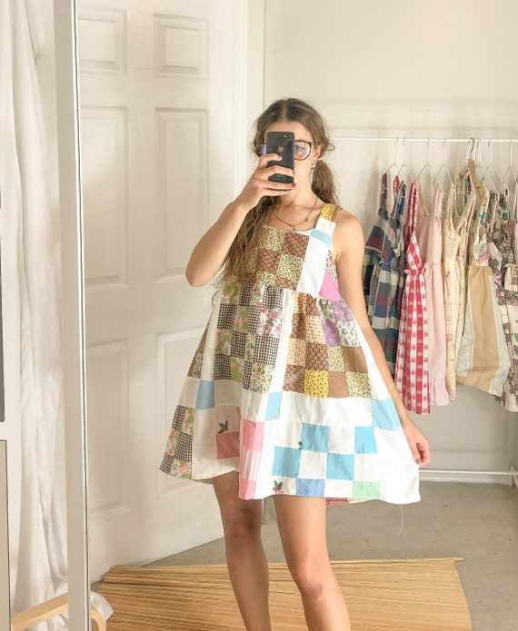 Quilted Checker Patchwork Summer Dress-One Size