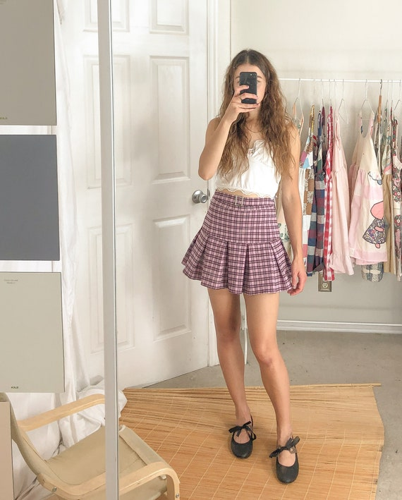 Vintage Skirt Tennis Plaid Pink Pleated With Belt-Small