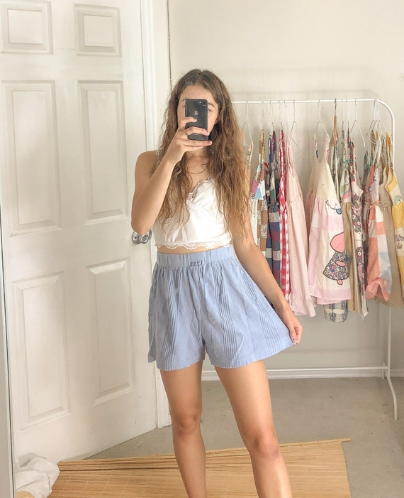 Vintage Ribbed Cotton Shorts-Medium