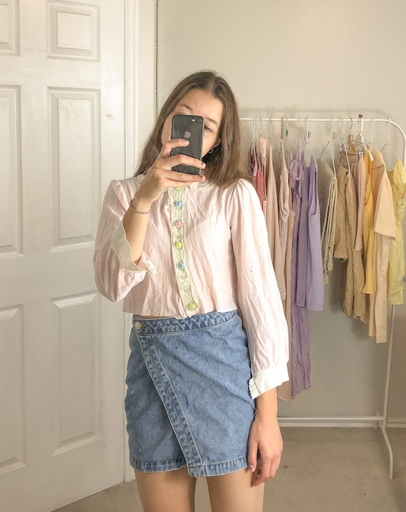 Vintage pink long sleeve button up blouse-Small